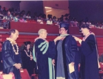 Dr. Linette Alapa Hunter being hooded at BYU-Hawaii...1985  Kipeni>Vendy>Linette