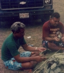 Frank 'Bully' and Vilai 'Vine' cleaning the luau leaves for the palusami...  Tinei>Aliitasi>Vine  Fasi>Pulusila>Bull