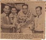 A newspaper clipping of Su'a Kipeni & Vilai Su'a greeting 'then' Prince Tupou of Tonga.   *Saimasina>Kipeni  *Saimas