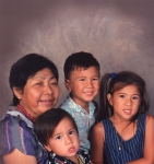 Salu>Pesi>Bessie with 3 of her many grandchildren,Jimmy's kids Chanelle,Joshua,and Jared