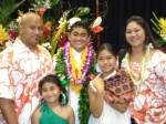 Lea Williams{Siufananua] with her family at May Day 2009. Her son Jrue was king. husband Peter,daughters Sachiko and San